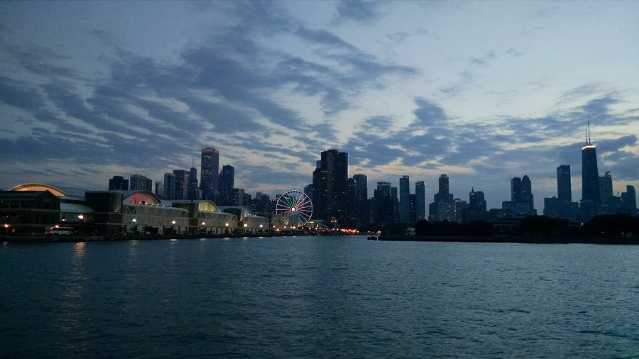 Chicago from Lake Michigan during River and lake cruise. Summer Mystery #7