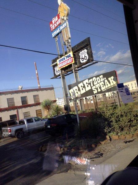 Big Texan in Texas on village tour trip New Mexico autumn rails