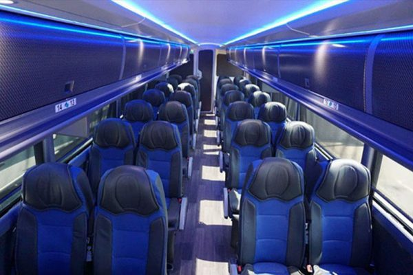Charter bus interior
